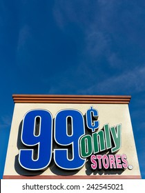 SANTA CLARITA, CA/USA - DECEMBER 27, 2014: 99 Cents Only Stores sign. 99 Cents Only Stores sells merchadise at $0.99 or less.