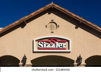 SANTA CLARITA, CA/USA - OCTOBER 1, 2014: Sizzler Restaurant exterior. Sizzler is a United States-based restaurant chain with headquarters in Mission Viejo, California.