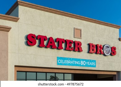 SANTA CLARITA, CA/USA - SEPTEMBER 12, 2016: Stater Bros grocery store exterior and logo. Stater Bros. Markets is a privately held supermarket discount chain.