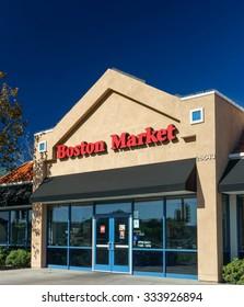 SANTA CLARITA,CA/USA - OCTOBER 31, 2015: Boston Market exterior and logo. Boston Market is a chain of American fast casual restaurants.
