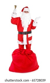 Santa claus with attributes on white background