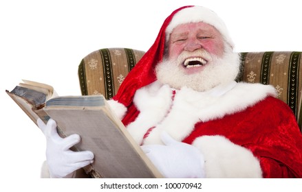 Santa Claus in authentic look storytelling. All on white background.
