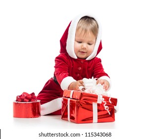 Santa Claus baby girl opening gift box isolated on white background