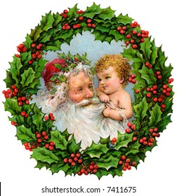 Santa Claus and baby within Christmas Wreath - a circa 1909 vintage illustration