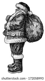Santa Claus with the bag of the gifts