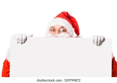 Santa Claus with blank billboard, isolated on white background