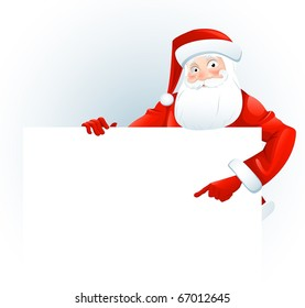 Santa Claus with a blank sign. Add your text.
