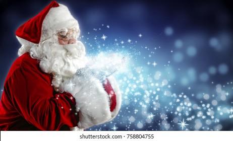 Santa Claus blows snow