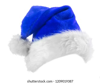 Santa Claus blue hat isolated on white background