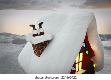 Santa claus boots against digitally generated snowy land scape
