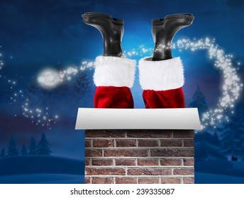 Santa claus boots against night sky over forest