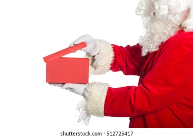 Santa Claus with box on a white background