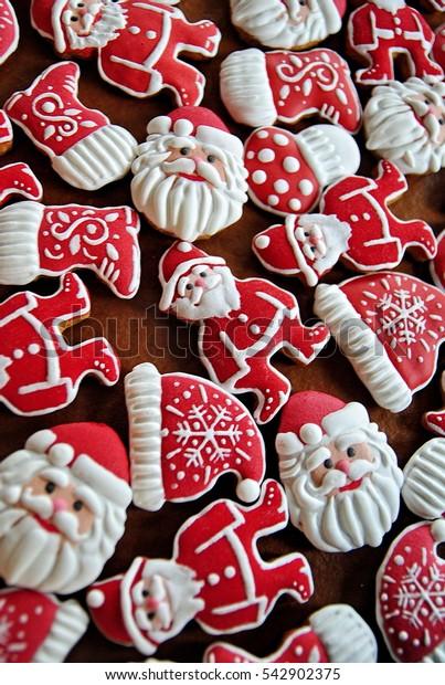 Santa Claus cakes , New Year's festive sugar glazed  gingerbread