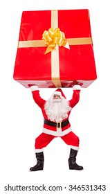 Santa Claus carries giant Christmas gift isolated on white background. Santa bucking over the head of a huge Christmas package. Large Christmas present surprise.