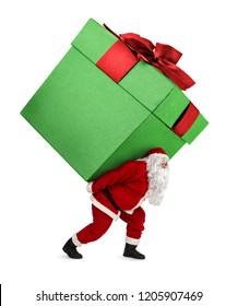 Papá Noel cargando un regalo enorme de Navidad aislado de fondo blanco