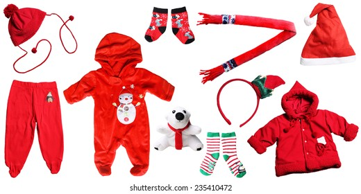 santa claus christmas baby red things isolated on white