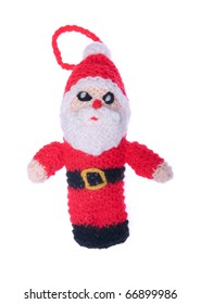 Santa Claus, Christmas decoration in whool isolated on white background
