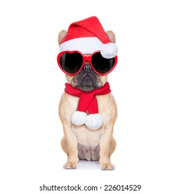Santa claus christmas fawn  bulldog dog wearing read heart shaped glasses , isolated on white background