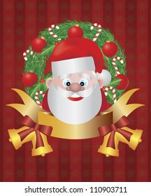 Santa Claus in Christmas Wreath with Tree Ornaments Candy Cane Holly Leaf Berries Bells and Bow Raster Illustration