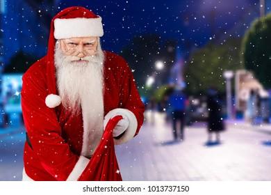 Santa Claus in city