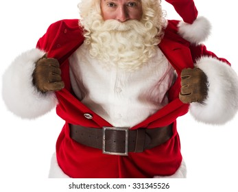 Santa Claus in a classic superman pose tearing his shirt open as a copyspace Closeup Portrait. Isolated on White Background