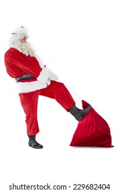 Santa claus clothing his sack on white background