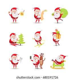 Santa Claus. Collection of posters. Xmas morning. List of gifts. Gift delivery. The christmas tree decorate. To arrive in time. To get presents. Christmas carols. Festive selfie. Happy holiday