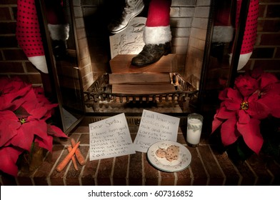 Santa Claus comes down the chimney, while cookies and milk are waiting for him.  There are also carrots for his reindeer. Poinsettias, stockings and a child's present list are near the fireplace.