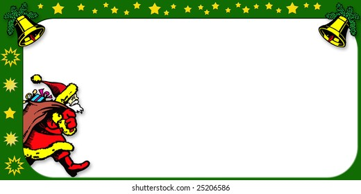 Santa Claus coming in from the left with his bag of toys over his back. Designed for copy or text to be added