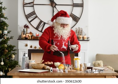 Santa Claus Cooking at Home Christmas Cookies