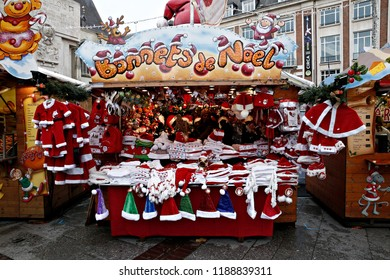 Santa Claus Costumes for sale in Christmas Market in Lille, France on Nov. 19, 2017.