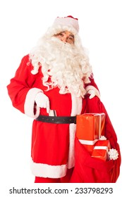 santa claus with credit card at his belt and sack of gifts in hand, isolated