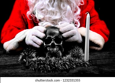 Santa Claus. Santa Crime Scene. Santa Claus holds a Human Skull for an unexpected Evil Santa Photo Shoot. Crime Scene do not cross. Black and White.
