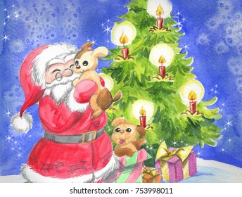Santa Claus with cute puppy dogs and Christmas tree, illustration hand made with watercolors.
