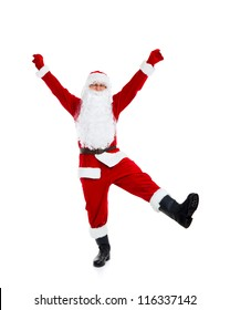 Santa Claus dancing full length portrait hold hand leg up dance with raised arms, isolated on white background, concept of merry christmas time and happy new year