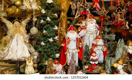Santa Claus and decorations at the famous christkindlmarkt of Salzburg in Austria