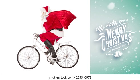 Santa claus delivering gifts with bicycle against green vignette