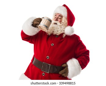 Santa Claus drinking beer Closeup Portrait Isolated on White Background