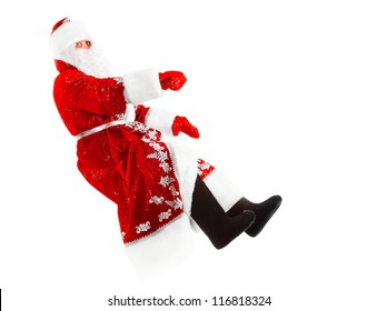 santa claus is driving his invisible car, isolated on white
