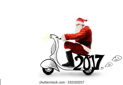 Santa Claus driving scooter isolated on white background