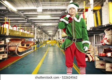 Santa claus and elf with gifts