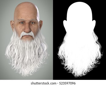 Santa Claus Emotions : Calm 3D Render. Illustration with alpha map for easy editing and isolation.