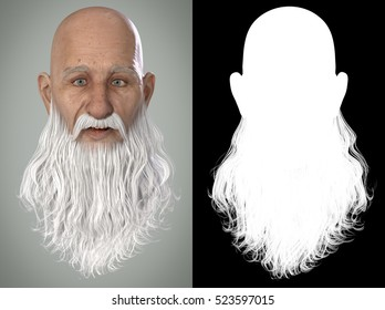 Santa Claus Emotions : Happy 3D Render. Illustration with alpha map for easy editing and isolation.