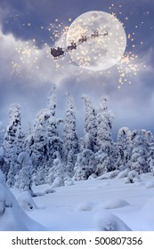 Santa Claus flying in the sky.  Christmas expectation