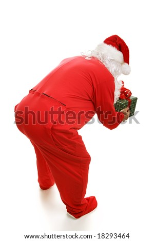 ce05970fd9 Santa Claus Footy Pajamas Bending Over Stock Photo (Edit Now ...