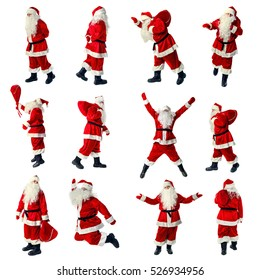 Santa Claus in full growth. Santa Claus isolated on white. Collection.