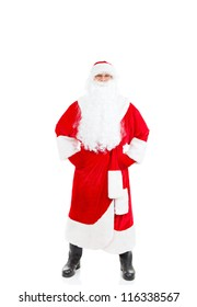 Santa Claus full length portrait, isolated on white background, merry christmas time and happy new year