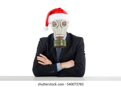 Santa Claus in a gas mask