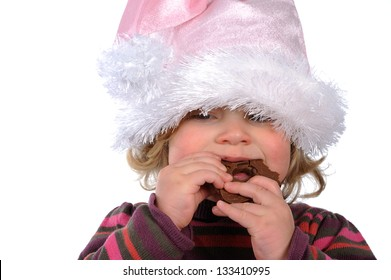 Santa Claus- girl is eating lebkuchen
