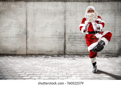 Santa claus and gray wall of space for your decoration
